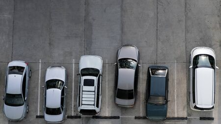 View from above of car parking full of vehicles. Copy space. Archivio Fotografico