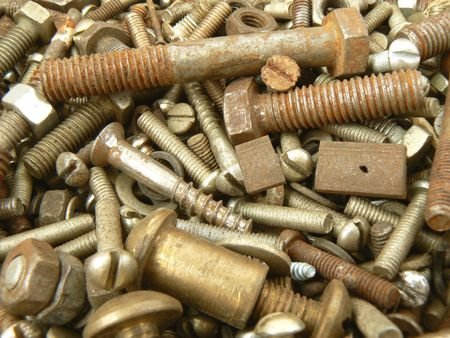 Background from rusty bolt and nut Stock Photo
