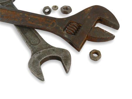 Metal nuts and big metal spanners photo