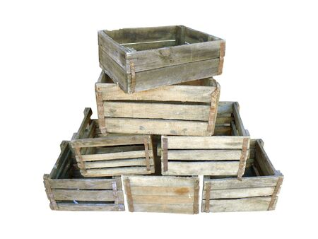 wooden lid: Old wooden boxes on white background