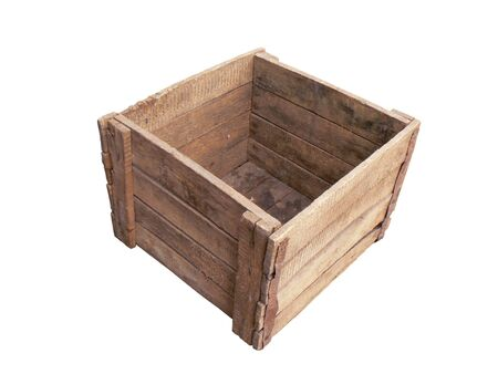 old container: Old empty wooden box on white background Stock Photo