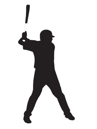 batter: Silhouette of player in baseball. Vector
