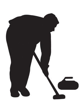 Silhouette of the player in curling Illustration
