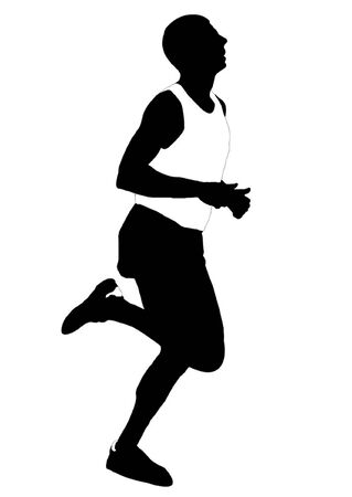 pentathlon: Silhouette running men