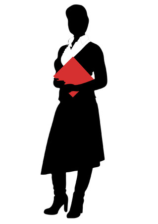 Silhouette of the women with red file Stock Vector - 3897866