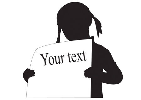 Silhouette of the girl with empty poster in hand Vector