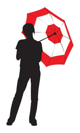 Silhouette of the young girl with umbrella Vector