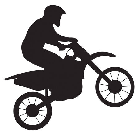 trail bike: Racer on motorcycle
