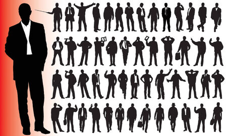 Silhouettes of many business people  Stock Vector - 4269881
