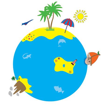 earth moving: Mundo con la isla, la palma Vectores