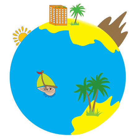 Globe with island, palm Stock Vector - 4343832