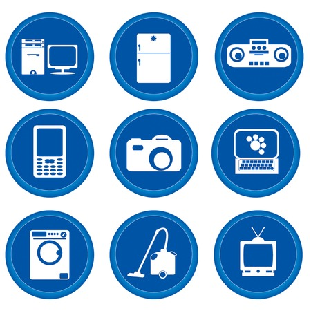 Set of buttons for web design. Home appliances Vector