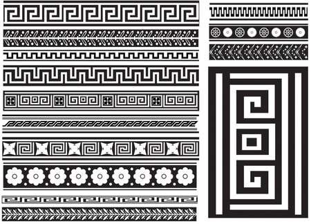 antique keys: Different types of seamless Greek patterns