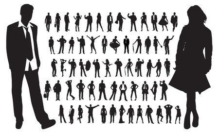 omini bianchi: Grande collezione di sagome di persone Vettoriali