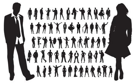 Grote verzameling van mensen silhouetten  Stock Illustratie