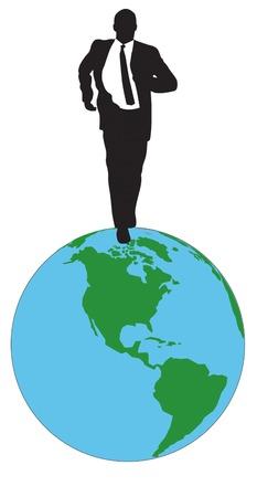 Businessman, running on globe