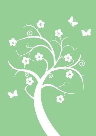 Silhouette flowering tree and butterflies Vector