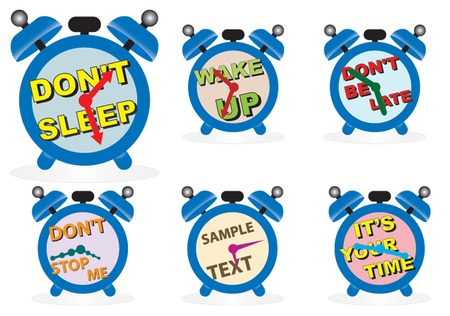Several alarm clocks with inscription. Vector Stock Vector - 4811724