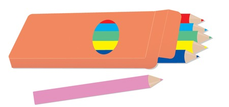 Colour pencil in box Vector