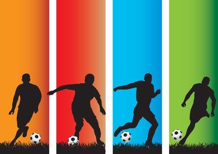 Silhouetten van een voet bal spelers