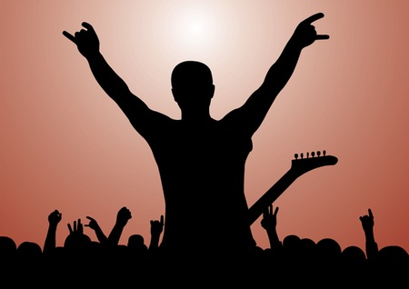 Rock Concert Silhouette. Gitarist and his fans Vector