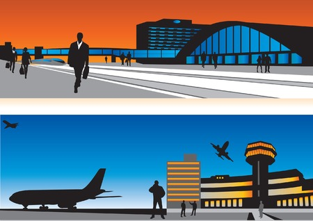 Air terminal and railway station. Passengers and buildings. Vector illustration