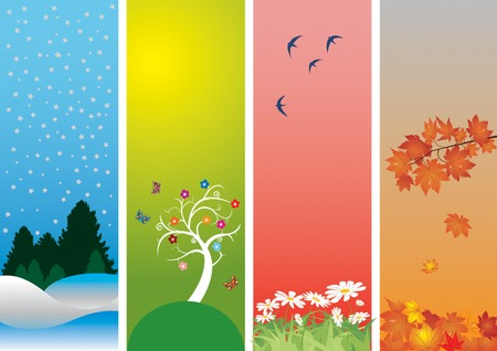 Four Seasons. Colorful style to vector illustration. Winter, spring, summer and autumn Vector