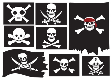 Skull and crossbones. Pirate flags.  Vector