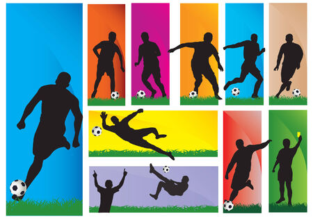 Silhouettes of a football players Stock Vector - 5819902