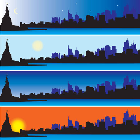 Statue of Liberty with New York Skyline. Vector illustration