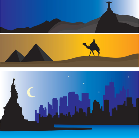 famous place: Vector Horizons. Famous place of the world. For you design
