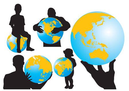 People & Globe Vector