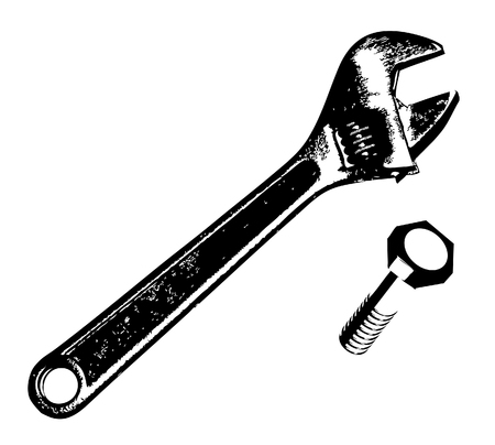 Wrench and bolt Vector