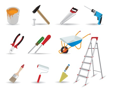stepladder: Repair and tools.  illustration for you design