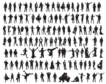 siblings: Silhouettes of the people. illustration for you design