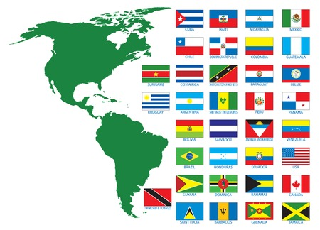 the americas: Flags. Vector ilustration