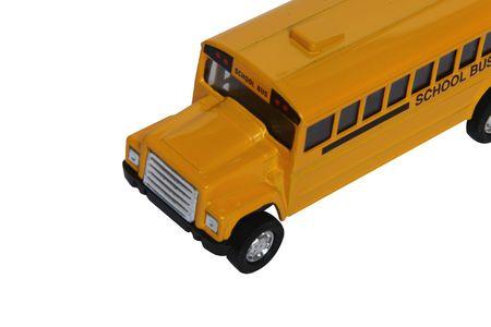 School yellow bus on white background