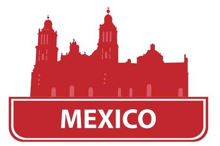 built tower: Esquema de M�xico. Ilustraci�n  Vectores