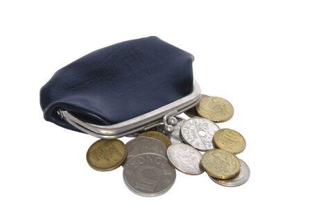 Wallet on white baclground. Retro style photo