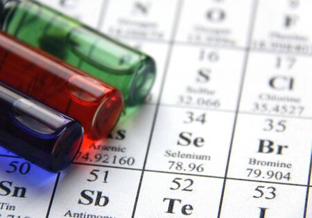 Test tubes and periodical table of the elements photo