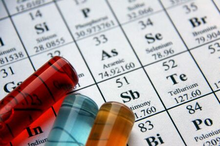 periodical: Test tubes and periodical table of the elements Stock Photo
