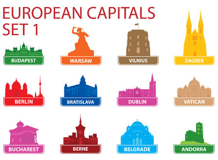 European capital symbols. Vector illustration. Set 1