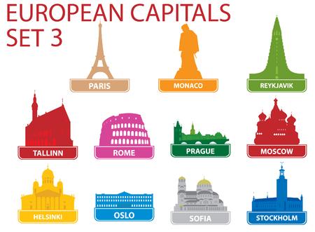 Simboli di capitali europei. Illustrazione vettoriale. Set 3