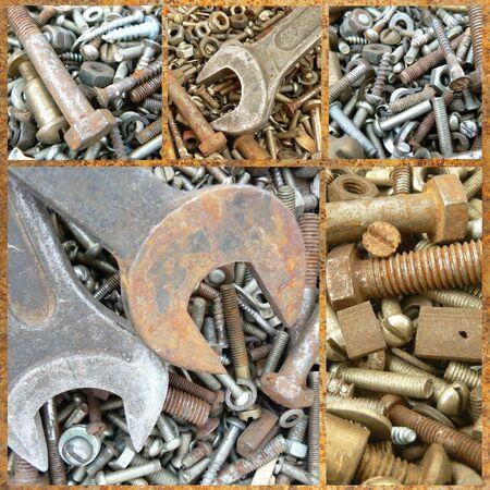 metal spring: Assortment of rusty metal fasteners. Set