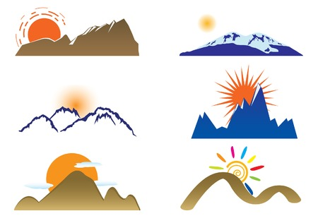 snow capped: Mount and sun. Vector set