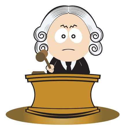 wig: Judge using his gavel. illustration