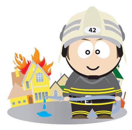bombero de rojo: Bomberos.  Ilustraci�n