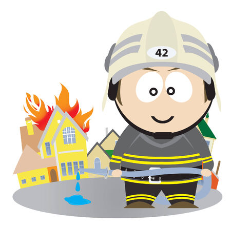 Firefighter.  illustration  Vector
