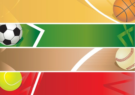 Sport balls banner. illustration