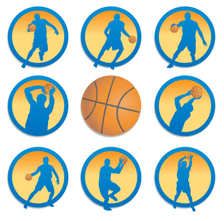 jump shot: Basketball. Set. illustration Illustration